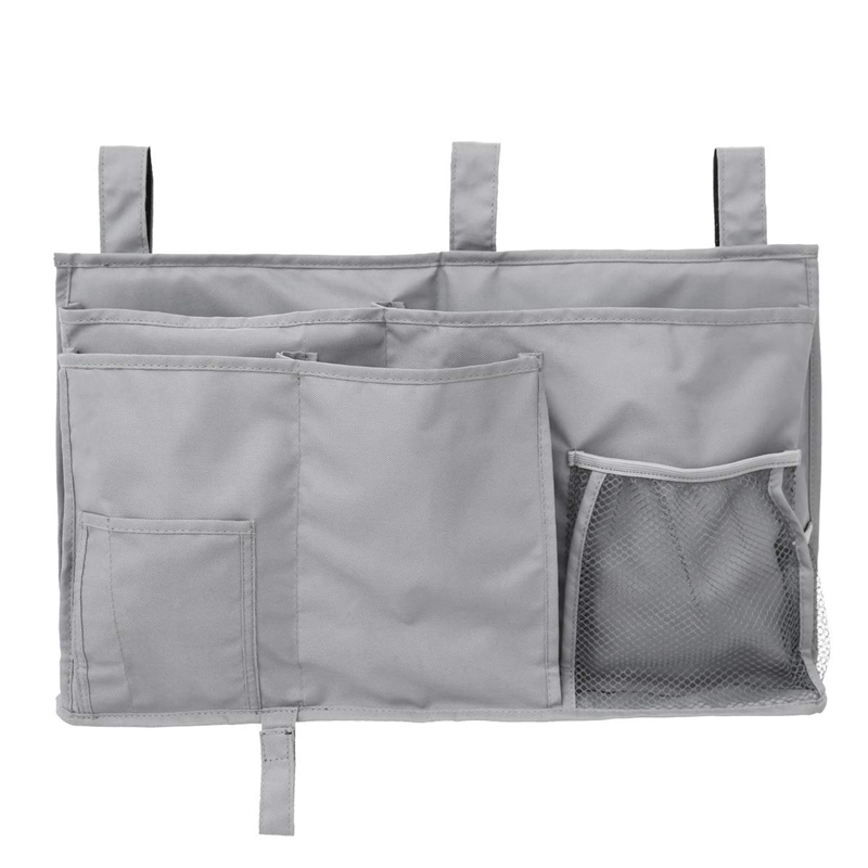 Hanging Organizer Bedside Storage Bag For Bunk And Hospital Beds, Dorm Rooms Bed Rails Gray