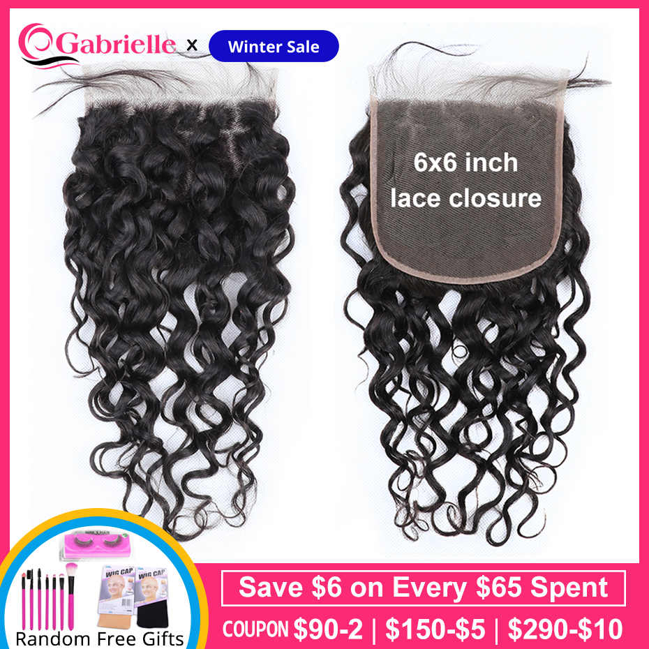 Gabrielle 6x6 Lace Closure Brazilian Water Wave Closure Swiss Lace 6 by 6 Human Hair Closure Free Part Remy Hair
