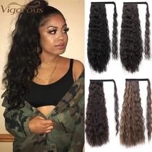 Hairpiece-Wrap Hair-Extensions Vigorous-Corn Long-Ponytail Clip Fack-Hair Blonde Wavy