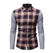 CYXZFTROFL High Quality Mens Casual Business Social Shirt Brand Trend Slim Mixed Color Plaid Long-sleeved