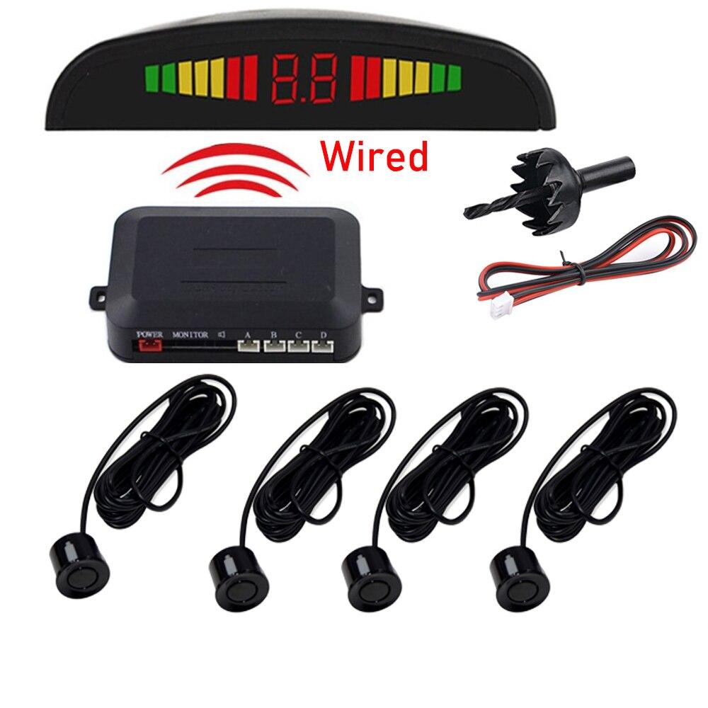Mobil Auto Parktronic LED Sensor Parkir dengan 4 Sensor Reverse Backup Mobil Radar Parkir Monitor Detector Sistem Display