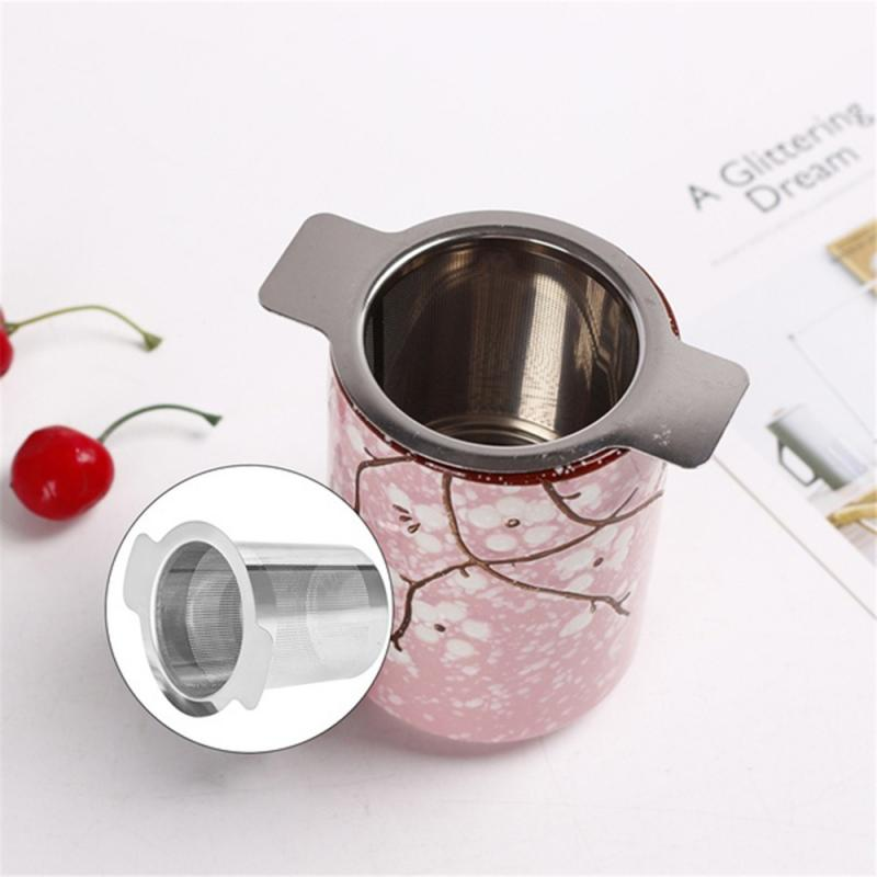Binaural Tea Infusers Strainer 304 Stainless Steel Anti-scald Drainkware Cover Filter Tea Filter Coffee Leak Kitchen Tea Tool