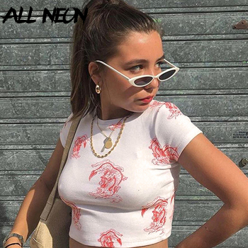 ALLNeon Streetwear T shirts for Women Dragon Print Front O-neck Short Sleeve Knit Cropped Tees Y2K Outfits Bodycon Short Tops