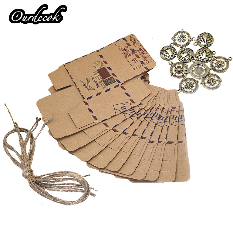 Image 5 - 100pcs Vintage Favors Kraft Paper Candy Box Travel Theme Airplane Air Mail Gift Packaging Box Wedding Souvenirs scatole regalo-in Gift Bags & Wrapping Supplies from Home & Garden