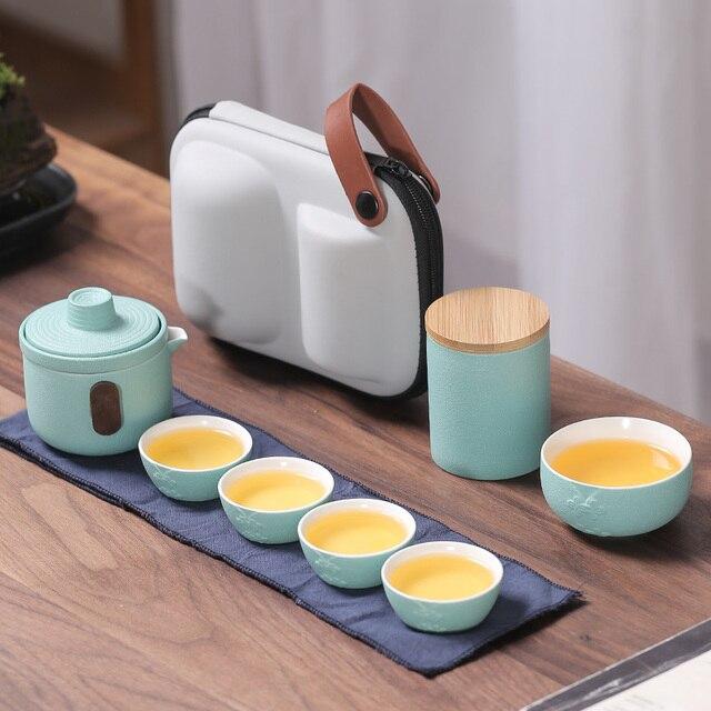 Ceramics Handmade Teaware Sets Portable Chinese Dining Bar Afternoon Fine Bone Teaware Sets Jogo De Cha Home Kitchen DB60CJ