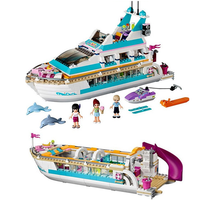 Compatible Legoinglys Friends Series Girl Dolphin Cruiser Large Yacht Club Cruise Vessel Ship Building Blocks Bela Brick 618Pcs