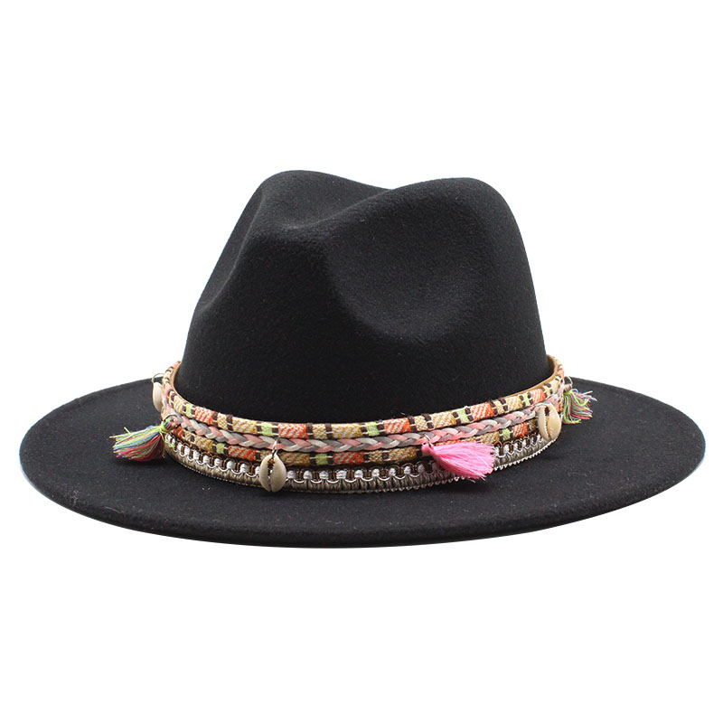 Mens Woolen Wide Brim Fedora Hats Classic Vintage Stylish Trilby Hat Jazz Cap with Leather Belt