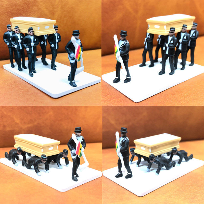 2020 New Ghana Dancing pallbearer Black man carrying coffin Action Figure Toys professional team coffin Dance Decoration Toy