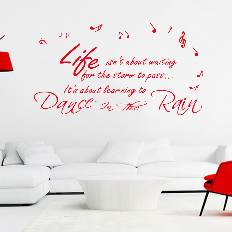 vinyl wall applique art in rain music murals quotes art wall
