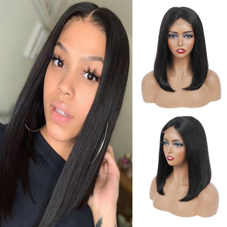 4*4 Straight Bob Wig Lace Front  Wig Pre Plucked with Baby Hair   Hair Frontal Short Bob Wig Black Women 1