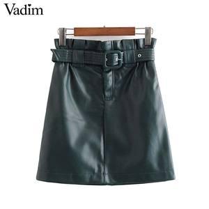 Image 1 - Vadim נשים עור מפוצל מוצק מיני חצאית רוכסן לטוס אלסטי מותניים כיסי עיצוב נשי אופנתי שיק בסיסי חצאית mujer BA857