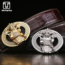 McParko Luxury Crocodile Belt For Men Genuine Leather with Rhinestone Chinese Style Mascot GOD of Wealth Trouser Waist