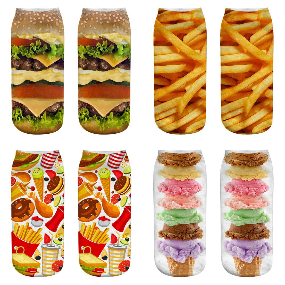 1 Pair Hamburger And French Fries Ladies Socks Women And Men 3D Cartoon Funny Food Crazy Cute Amazing Novelty Print Ankle Socks