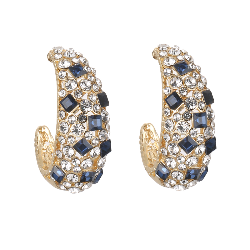 Fashion New Geometric Opal Stud Earrings for Women Exquisite Luxury Shiny Crystals Korean Earrings Accessories Wholesale Jewelry