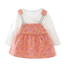 New Baby Girl Clothes 0-3T New Autumn Fashion Dress  Casual Foreign Baby Princess Floral Pattern Long Sleeve Dress new pattern girl princess foreign trade sleeping princess show serve thick dress mesh