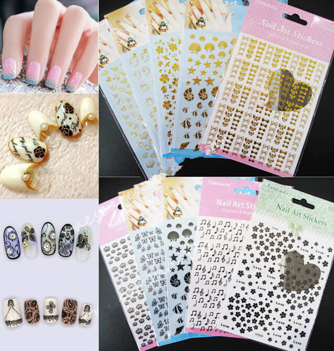 Manicure 3D Sticker Wholesale Gold Silver Pattern Random