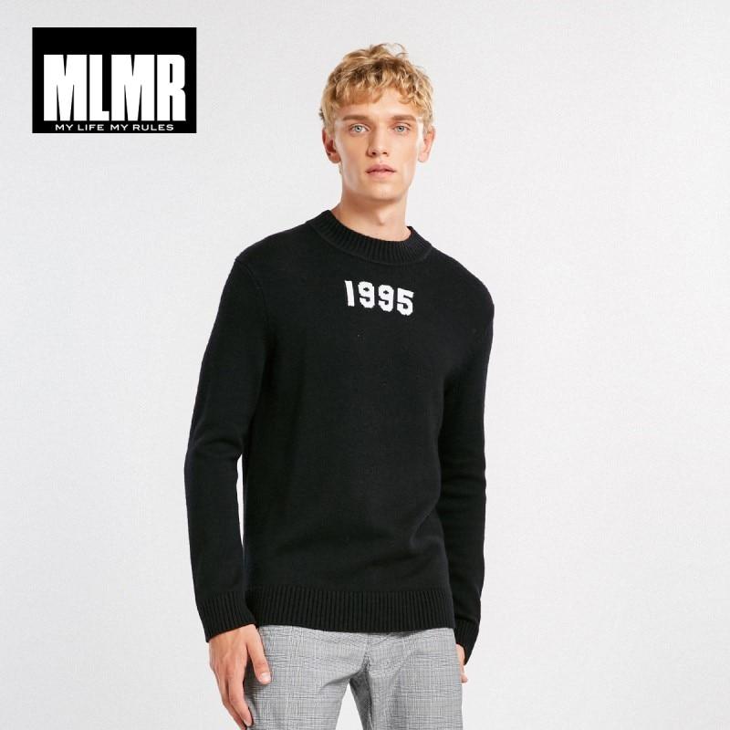 JackJones Men's Fashion Trend Embroidery Round Neck Solid Color Long-Sleeved Sweater  Wool Menswear Streetwear 218424514