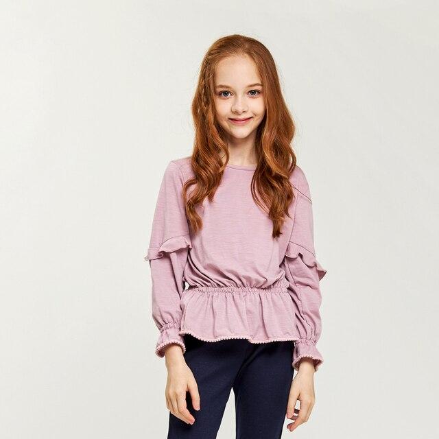 CupofSweet Partito Della Ragazza Tunica Magliette e camicette Abbigliamento Per Bambini di Modo di Autunno Maniche Lunghe Increspato Tuniche Casual Bambini Top Camicette Per Le Ragazze