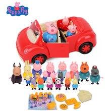 Peppa pig menina george família amigos cena real vermelho carro conjunto ação personagem dos desenhos animados brinquedo criança aniversário presente de natal
