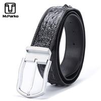 McParko Men Leather Belts Pin Buckles Luxury Crocodile Back Leather Belt Men Business Croco Waist Belts Brown Classic Male Gifts
