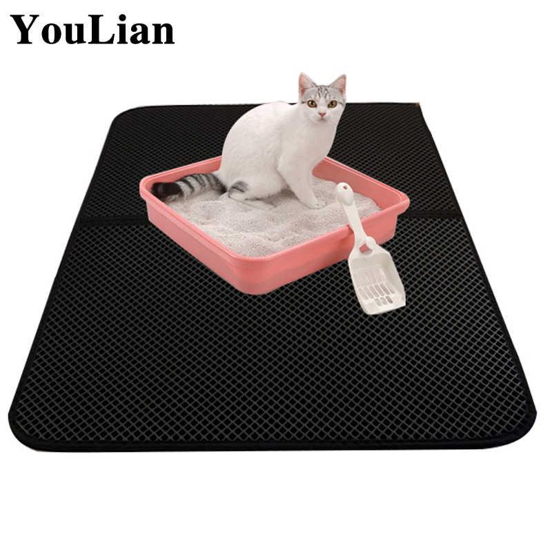트랩 애완 동물 고양이 쓰레기 매트 접이식 방수 애완 동물 고양이 쓰레기 매트 바닥 고양이를위한 비 슬립 클린 패드 제품 더블 레이어 고양이 매트