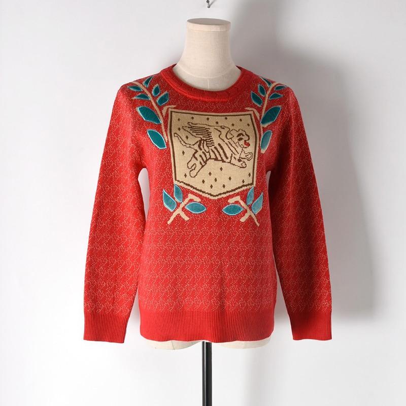 Europa Star estilo tejido suéter mujer Jacquard tejido perro hoja bordado punto cuello redondo Jersey manga larga Otoño Invierno