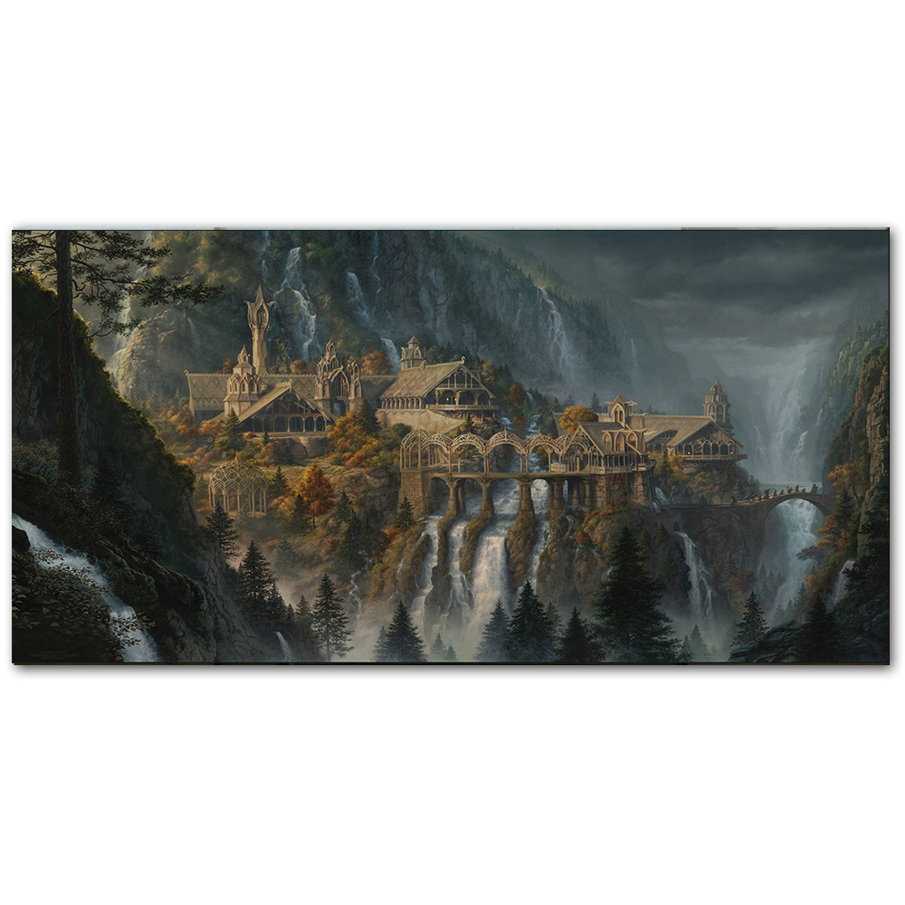 Lotr Rivendell Lord Of The Rings Posters Hobbit HD Canvas Prints Wall Art Oil Painting Decorative Picture Modern Home Decoration