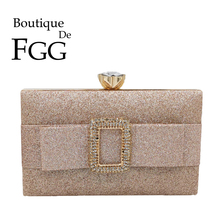 Boutique De FGG Fashion Womens Glitter Evening Bag and Clutches Hardcase Party Cocktail Ladies Box Handbags with Belt