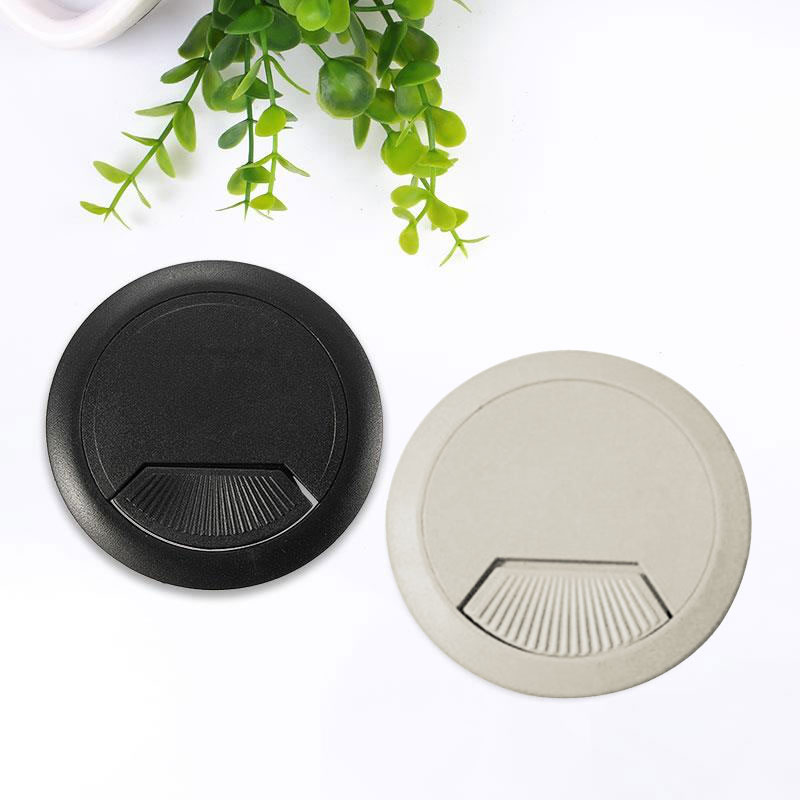 60mm ABS Plastic Desk Wire Hole Cove Cover Grommet Grommet Cover Room Make Table Tidy Computers Shape Black Gray Office Cable