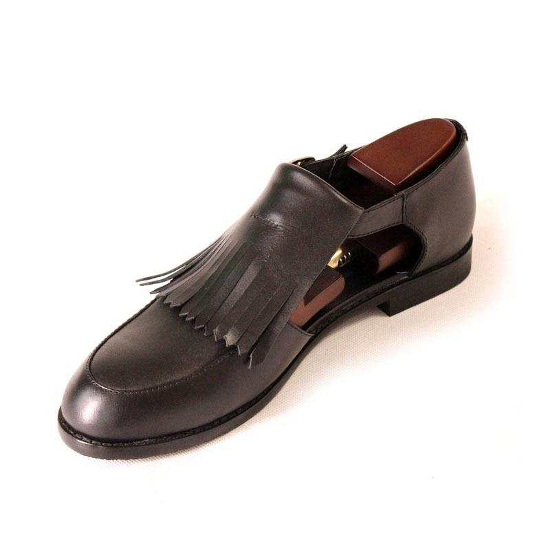 British Men Retro Tassels Genuine Leather Dress Shoes Buckle Hollow Block Low Heels Summer Sandals Business Party Wedding Sandal