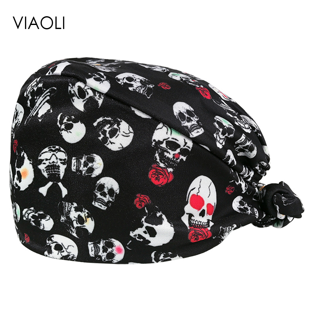 VIAOLI Print Black Tieback Elastic Section 100% Cotton Surgical Caps Scrub Caps For Men Women Hospital Medical Hats Arrival 057