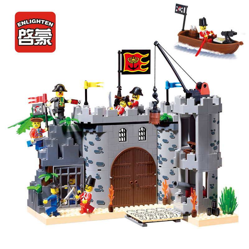 Enlighten Compatible Castle Blocks Dragon Knights Caribbean Pirate Sets Model Bricks Building Blocks Boys Child Kids Toys Gifts