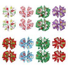 8Pcs/lot Christmas 3 Hair Bows for Girls Senta Claus Printed Bowknot Hairgrips Lovely Handmade Barrettes Kids Headwear
