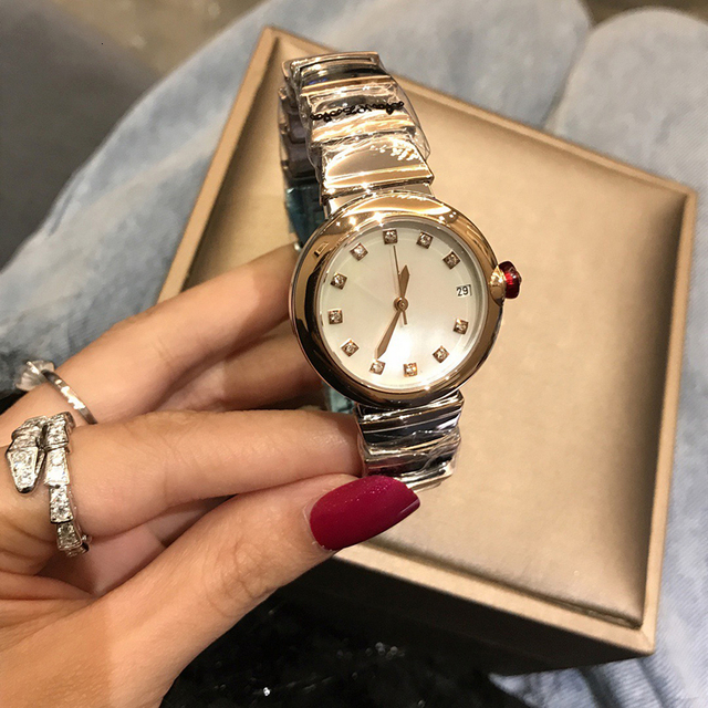 Hot Brand Fashion Luxury Watch Green Dial Mother of Pearls Dial Automatiic Watch Snake Strap Rose Gold Color Stainless Steel 4