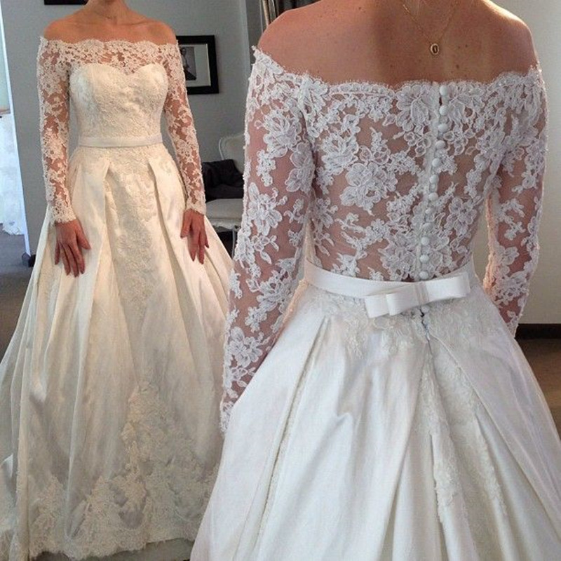 Robe De Mariee A-Line Beach Lace Applique Off-Shoulder Long Sleeve Lace Bridal Gown Vintage Garden Mother Of The Bride Dresses