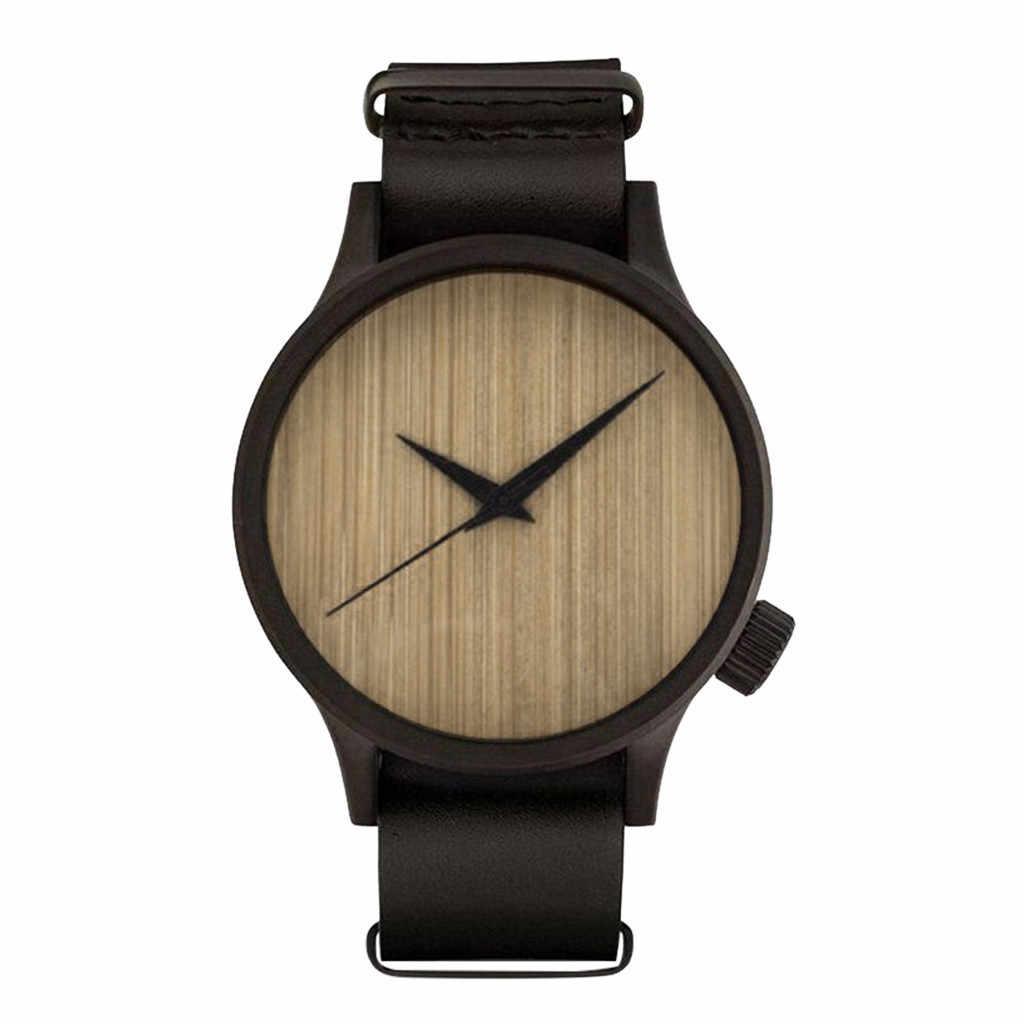 Montres en bois pour hommes et femmes bois bambou montre mâle montres femme montre Simple en bois mouvement à Quartz livraison directe