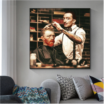 Funny Artwork Van Gogh get Haircut from Dalí Painting Printed on Canvas 1