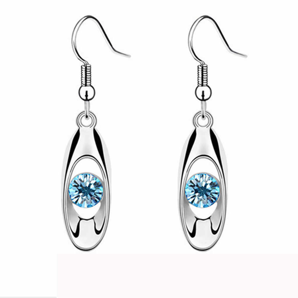 OTOKY Woman Sterling Silver Earrings Dangle Fashion Crystal Drop Earring Oval Dangle Earrings Long Earrings Gift Jewelry Blue