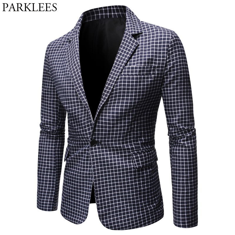 Mens Plaid Checked Suit Blazer 2020 Spring New Slim Fit One Button Notch Lapel Casual Deily Dress Suit Jacket Blazer Masculino 1