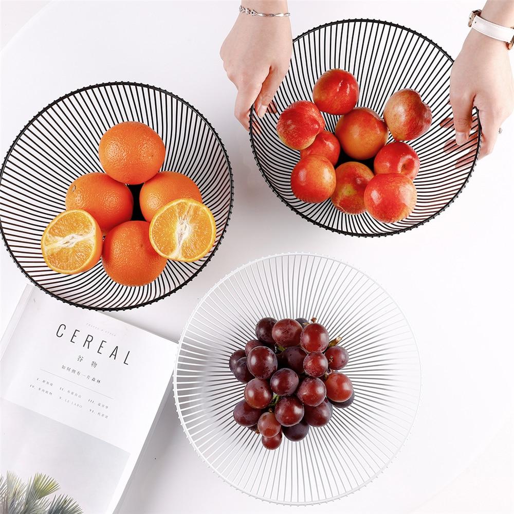 Fruit Basket Container Bowl Metal Wire Basket Kitchen Drain Rack Fruit Vegetable Storage Holder Snack Tray Bowl Table Storage|Bottles Jars & Boxes| |  - title=