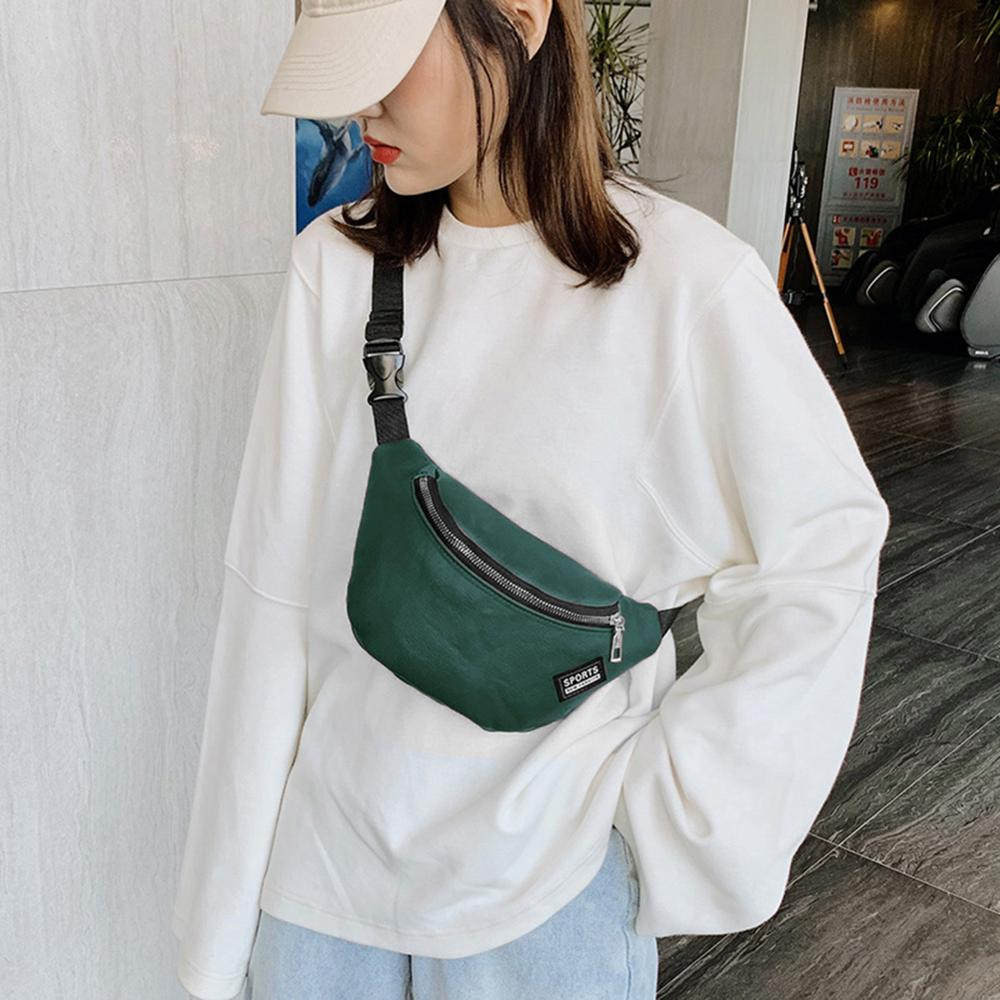 Simple PU Leather Fanny Chest Bag Women Casual Zipper Waist Pack Female Leisure Large Solid Color Shoulder Crossbody Bag