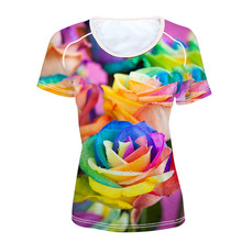 FORUDESIGNS Rainbow Rose T Shirt Women Colorful Floral Clothes Flower Tops Tees Ladies Blue Red Female O Neck T-shirt girl