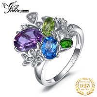 JewelryPalac 2.6ct Natürliche Amethyst Diopsid Peridot Topas Ring 925 Sterling Silber Ringe für Frauen Silber 925 Edelsteine Schmuck