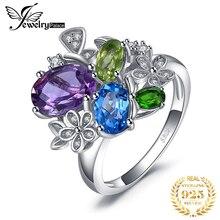 JewelryPalac 2.6ct naturalny ametyst Diopside Peridot pierścień Topaz 925 srebro pierścionki dla kobiet srebro 925 kamienie szlachetne biżuteria