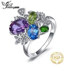 Jewelrypalac 2.6ct Natuurlijke Amethist Diopside Peridot Topaz Ring 925 Sterling Zilveren Ringen Voor Vrouwen Zilver 925 Edelstenen Sieraden