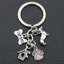 Top Dog Tags Creative Metal keychain, Pet Charms, Puppy Mini Kennel Paw Print Charms,Pet Lovers Gift  1pcs