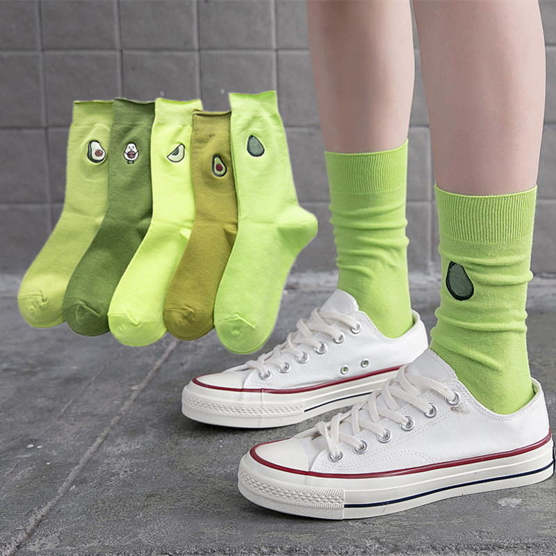 SP&CITY 5 Pairs Set Ins Fashion Avocado Embroidery Heap Socks Women Pure Color Leisure Joker Ankle Socks For Female Original Sox