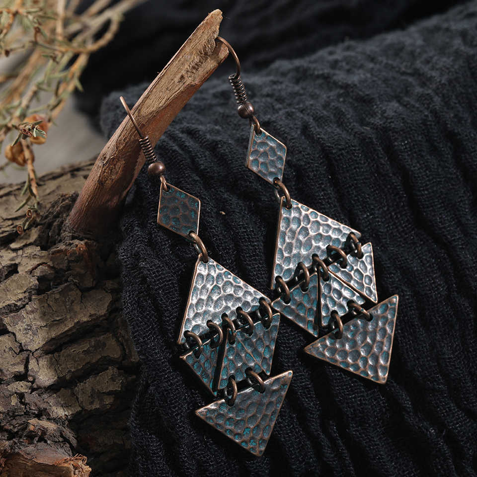 Geometric boho big large Vintage Antique green fashion earrings 2019 Drop dangle Earrings for Womens wedding jewelry accessories