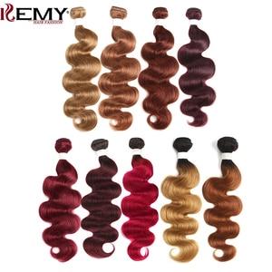 Image 1 - Blond Brown Red Color Human Hair Bundles 1PC Brazilian Body Wave Human Hair Extension 8 26 Inch Non Remy Hair Weave Bundles KEMY