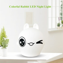 все цены на Touch Sensor Colorful LED Rabbit Night Light Cartoon Silicone Bunny Table Lamp Bedroom Bedside Lamp for Children Kids Baby Gift